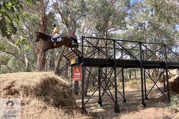 Will Enzinger and 'Glenwood Park Cooper Street' make a copy book jump off the famous Wandin Bridge. The bridge has been a part of Wandin's history and thanks to the Bendigo Bank it has been returned better than ever.