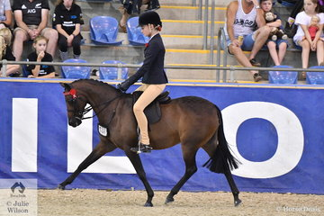 Amanda Edwards', 'Reigal Ballerina' from Queensland made Top Ten in the Langtree Stud Child's Small Pony Championship.