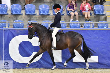 Emma Richardson and Trinette Crawford's, 'Hibrie Sugar Plumb' took out the Langtree Stud Child's Small Pony Championship.