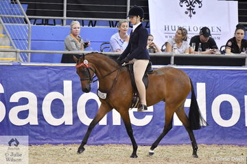 Chelsea Morelli rode her, 'Mandelay Silk Road' to claim the Five Year Old Large Pony Championship.