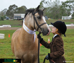 With a clear bond between horse and handler, Olivia Nason and Boola Creek Ashes Victory compete in the Led Welsh C or D Gelding Purebred class on the second day of the 2019 Toowoomba Royal Show..