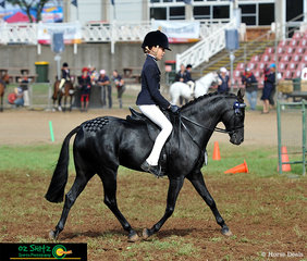 Champions of the Mini Child's Pony Class on day four of the Toowoomba Royal Show are Clare Fedrick and Kennallywood Kensington.