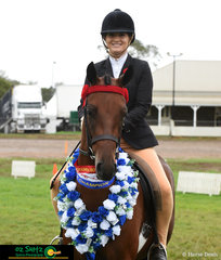 Supreme Champion Ridden Riding Pony went to Hamlot Park Spendour ridden by Fiona Portelli at the 2019 Toowoomba Royal.