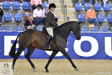 Rachael Addison fromWaurn Ponds in Victoria rode her, 'Prima Donna' to third place in the Walfam Investments Small Show Hunter Hack Championship.