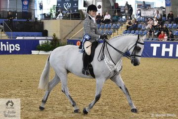 Lindsey Blanch was delighted to take third place in the Sydney Solvents Grand National Large Show Hunter Championship with her own and T Firth's, 'Dicavalli Royal Gustav'.