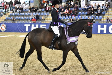 Melissa Molloy from Nar Nar Goon in Victoria rode her, 'Relmsparc Foxtrot' to claim the SJM Equine Grand National Small Hack Reserve Championship.