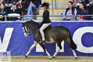 Ella Manning is pictured aboard Andrea Merry's wonderful Show Hunter Pony, 'Splash Dance' that earlier in the show was declared MP Gloss Products Grand National Child's Small Show Hunter Pony Champion.