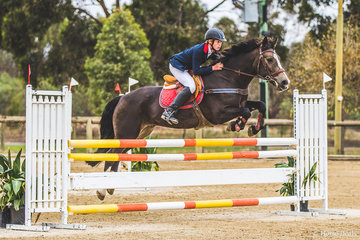 Caleb Bertram from Barnawatha in North East Victoria and his own CeeJay Park Private Buddy had a good day out in the Junior 110cm and should be well pleased with their efforts.