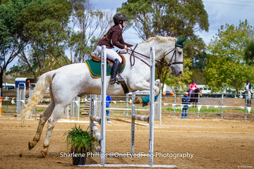 Leanne Wicks and Burrowa Blisse came away pleased with their efforts to place first in the 85cm Pony rider under 16 years