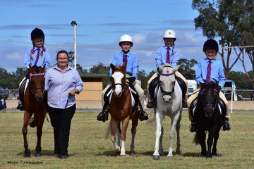 The Forbes North Public School Team was awarded second place in the Best presented School Team on Parade; from left, Isabel Pearce, led by Lucy Pearce, Charlotte Markwort, Lucia Bilsborough and Charlie Pearce.