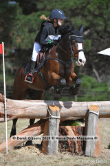 """Leaders in the EVA95 Interschools, Alannah Mitchell riding """"Spring Infusion"""" with a score of 30.00 after Cross Country and Dressage, still to showjump on Monday"""