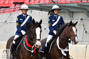 L-R Leading Senior Constable Sarah Maxwell riding, 'Joker' took second place and Senior Constable Caroline Humphries  aboard, 'Anzac' was third in the Don Rowland Best Turned Out Mounted Trooper class.