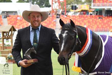 Brendon Shearer is pictured with his own and Megan Shearer's Champion Australian Stock Horse Stallion/Colt, 'Jats Bar Casanova' (Jat Bar Adios Acres/Yarrawa Alias).