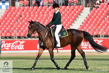 Katie De Jong rode, 'Mains Lochlan' to take fifth place in the Australian Stock Horse ASHLA  Senior class for Lady Riders.