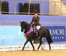 """The M LABAHN & ASSOCIATES Champion Owner/Rider Small Show Hunter Galloway """"Clemson Tuxedo"""" and Kirsty Harper-Purcell."""