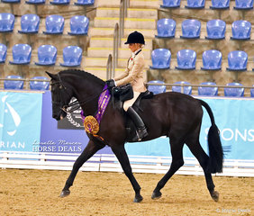 """The DIAMOND DELUXE HORSEWEAR Champion Owner/Rider Large Show Hunter Hack """"F1 Don Schumann"""" and Kate Scicluna."""