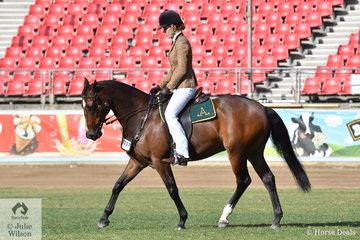 Matilda Jones rode the Combaning Stock Horses' nomination, 'Falconhurst Formidable' (Glen Lee Rivoli Ray Tech/Vet School Rivoli Wendy) to third place in the class for Australian Stock Horse Mare/Gelding, Rider Under 18 Years.