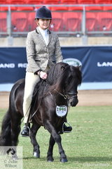 Emma Finemore rode Maureen Pengelly and Kerry Buckleigh's stallion, 'Green Valley Kookie' to take out the  Best Ridden Shetland Pony Exhibit.