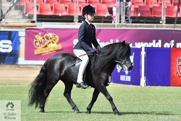 Elka Peterson rode J Cambourn and the Monarra Park Stud's, 'Monarra Park Paris' to win the class for Ridden Shetland Pony Mare.