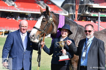 Heather Oxenham's, 'Benwerrin Park Lady Audra' (Murroka Seumas/ Benwerrin Park Paige) took out the Annaburne Cup Gold Cup for Mare/Filly Two Years and Over bred in the Commonwealth of Australia. Pictured L-R  judge, Scott Goodall, handler, Sheridan Palmer and award presenter, Max Britton.