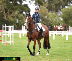 Getting ready to jump their 1.20m Show Jumping round is Tori Fair and Ramirus at the Werribee Park National Equestrian Centre competing at the 2019 Victorian Interschool National Championships.
