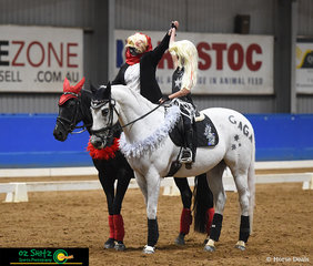 A stance of accomplishment for Lamoza Velisha and Chanel Radburn on their horses, Kolora Stud Cash and Kilburns Cinderella after the Pas De Deux on the first day of the Victorian Interschool State Championships.