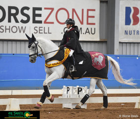 You're a horse Harry! - Lamoza Velisha representing Kardinia International College rides Kolora Stud Cash in the Novice Freestyle on the second day of the 2019 Victorian Interschool State Championships.