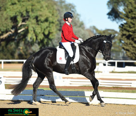 First out to compete in the Secondary Elementary 3C Dressage test was Royal Diamond Jubilee ridden by Jasmine Abernethy representing Balcombe Grammar.