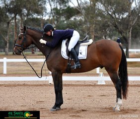 Extremely happy with their Preliminary 1C test was Lainey Sandford and Danson Zodiac, on the second last day of the Victorian Interschool State Championships held at Werribee Park.