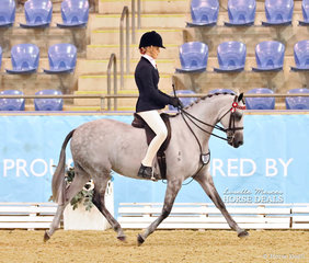"The POIDEVIN FAMILY Champion Child's Open Large Pony ""Greenwood Coco Chanel"" and Tammin Glover."
