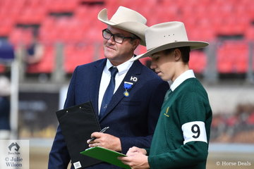 Australian Stock Horse breeder, trainer and successful exhibitor and in this photograph, Stock Horse Junior Judging judge, David Nash is pictured examining Dillon Smith from Camden.
