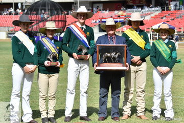 Australian Stock Horse National Junior Judging placegetters, L-R3rd, Bobby Jo Tattam,  Kate Addison (WA) Runner Up, Brad Daunt (NSW) Champion, award presenter, Craig Young, Angus Richardson (Vic) fourth and Airlie Treloar.