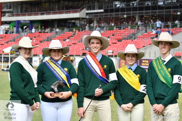 The NSW junior Judging lineup. L-R 3rd Jessica Moore, Chloe Anderson, Runner Up, Lachlan Moore, Champion,Grace Amou, fourth and Dillon Smith, fifth.