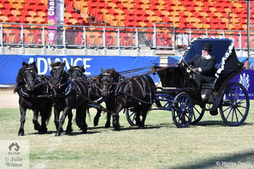 Caroline Blakeley driving a mostly original King George IV Phaeton won the class for Multiple Shetland Ponies in Harness with her super team of four.