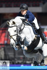 Alexandra Gostelow and her 'Tulara Cristo' make a spectacular jump during the Junior Grand Prix today..