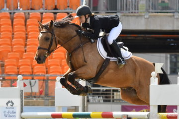 Izabella Hughes rode her super, 'Beethoven' to post a double clear and take second place in the Junior Grand Prix.