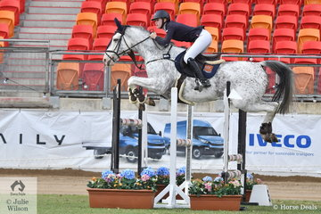 Sophie Hatch jumped clear and a fast four to take fourth place in the Junior Grand Prix riding her eyecatching and talented, 'Rosthwaite Belvedere'.