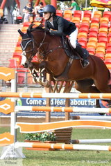 In her last year as a Young Rider, Jamie Priestley jumped a good first round clear in the Young Rider Grand Prix riding her, 'Kolora Stud Optimus' by Vivant.