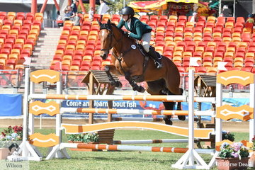 Lucy Evans and 'Vivajoy' by Vivant jumped well today to  place  third in the Young Rider Grand Prix.