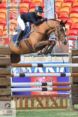 Sophie Smith jumped two super rounds aboard her, 'Bellhaven Jazz', but incurred one time penalty in each round. Their two round total of two saw them take second place in the Young Rider Grand Prix today.