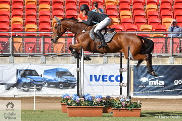 William Dight from Yetman in NSW showed plenty of potential as a rider of the future. He is pictured aboard his, 'Thea' during the  Young Rider Grand Prix today.