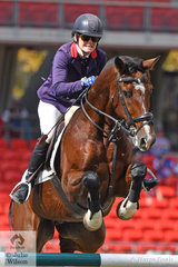 Vicki Roycroft has been competing at Sydney Royal since she was eleven years old and today celebrated her birthday. Vicki is pictured aboard, 'Dynamite Bay' during the Section 2 Table C. She took fourth place riding Licaviv.