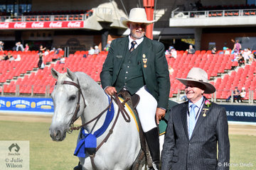 Popular Sydney Green Coat, Cliff Parker has been looking after the competitors at Sydney Royal Show for 44 years and his 19 year old horse, 'Twix' has been on the job at Sydney for 13 Years. On the strength of their tremendous contribution to the show, Cliff and Twix were declared  the 2019 Sydney Royal Easter Show Legend. They are pictured with RAS President, Robert Ryan OAM.