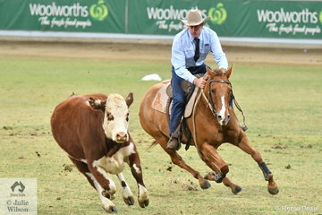 On his first appearance in the competition, Bruce Coulthard from Yarras in NSW riding 'Fig' took out the 2019 Duke of Gloucester Trophy for overall winner of the Tyrrells World Championship Campdraft.