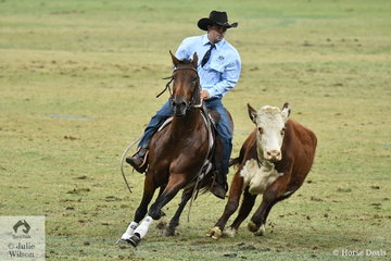 Successful horseman and campdrafter, Hugh Miles rode , 'Honey They're Achin' to win the final round of the Tyrrells World Championship Campdraft with a score of 90. Hugh also took out the award for the Highest Aggregate Cutout Score with 135.5 and took overall second place in the Championship.