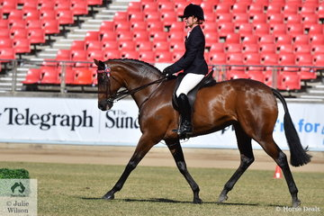 Rachael Addison from Victoria rode her, 'Bella Vita' to third place in the class for Novice Hack 16-16.2hh.