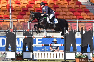 Paul Brent from the Yarry Valley in Victoria rode Neil Cinton's imported stallion, 'Fontaine Blue VDL' to second place in the Section 3 Jump Off class this afternoon.
