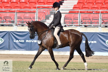 Grace Tyson is pictured during the Show Hunter Galloway Championship ride off aboard Isabella Tyson's Child's Show Hunter Galloway winner, 'Koorana Timeless Moment'.