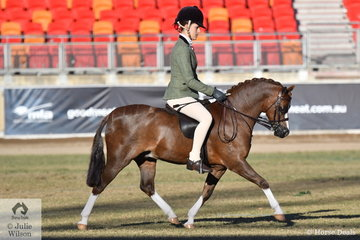 Mia Skinner is pictured aboard the ACM Training Stables and Kim Vodhrasky nomination, 'Armanii Park Robin Hood' that won the class for Open Show Hunter Pony N.E. 11.2hh.