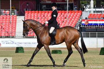 Rebekah Carrolan from Victoria rode her, 'Aston Martin II' to claim the Ida Buring Rinegolde Turnout Perpetual Trophy for Lady Riders 17 Years and Over.